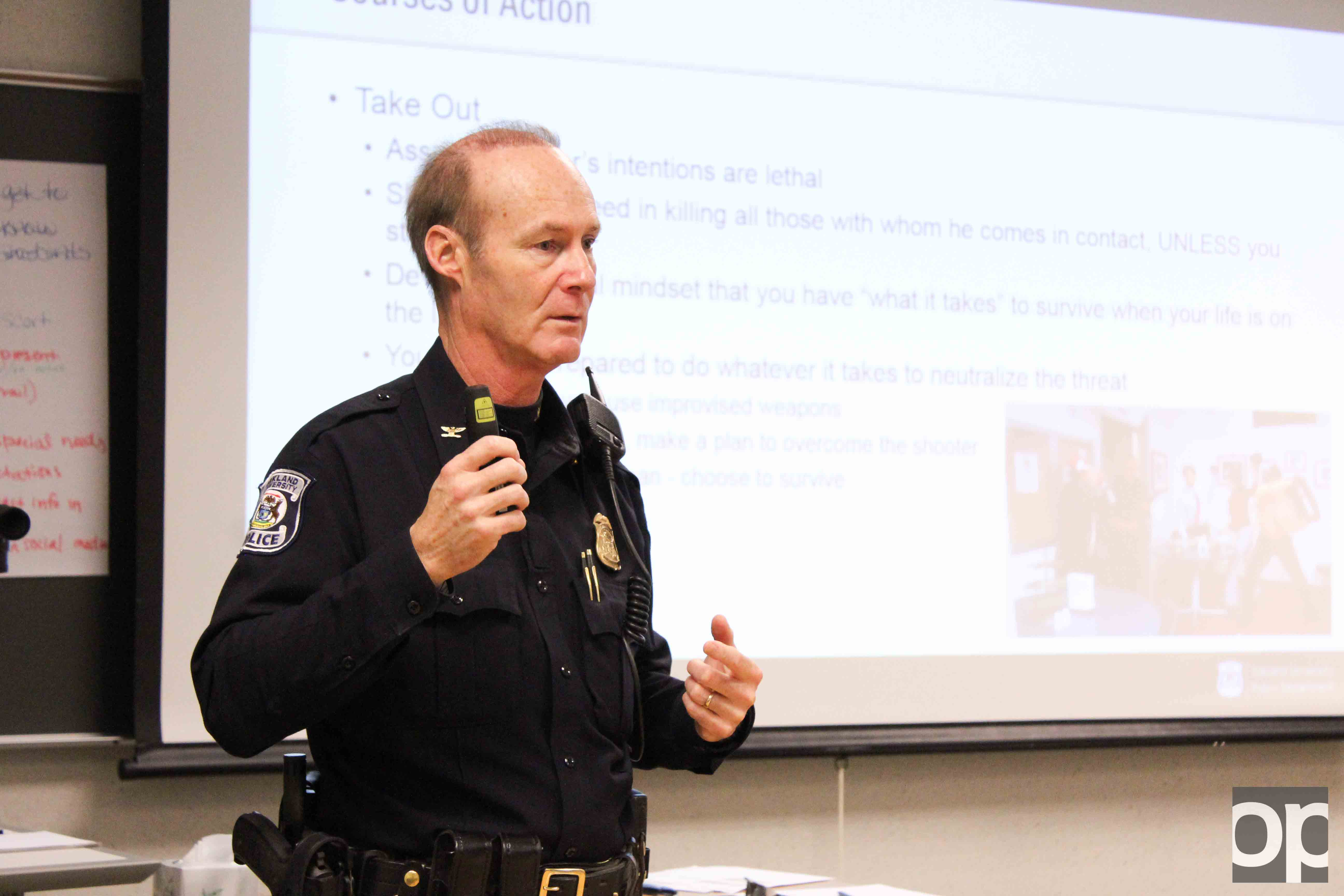 Oakland University Police Department Chief of Police Mark Gordon spoke to professors about safety procedures during an active shooter situation.