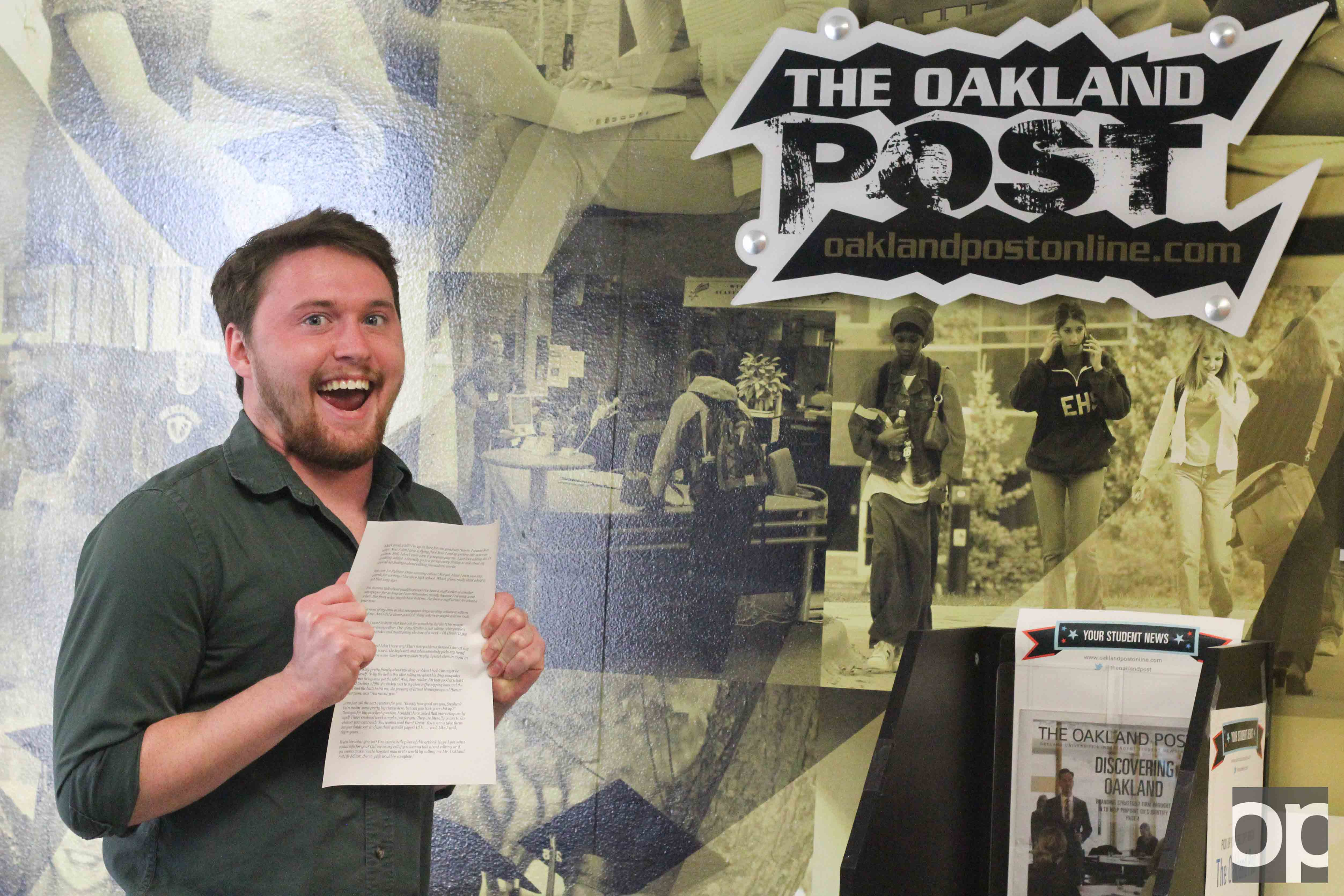 What in life editor application? Stephen Armica, an interesting guy, gets psyched to turn in his cover letter to The Oakland Post.