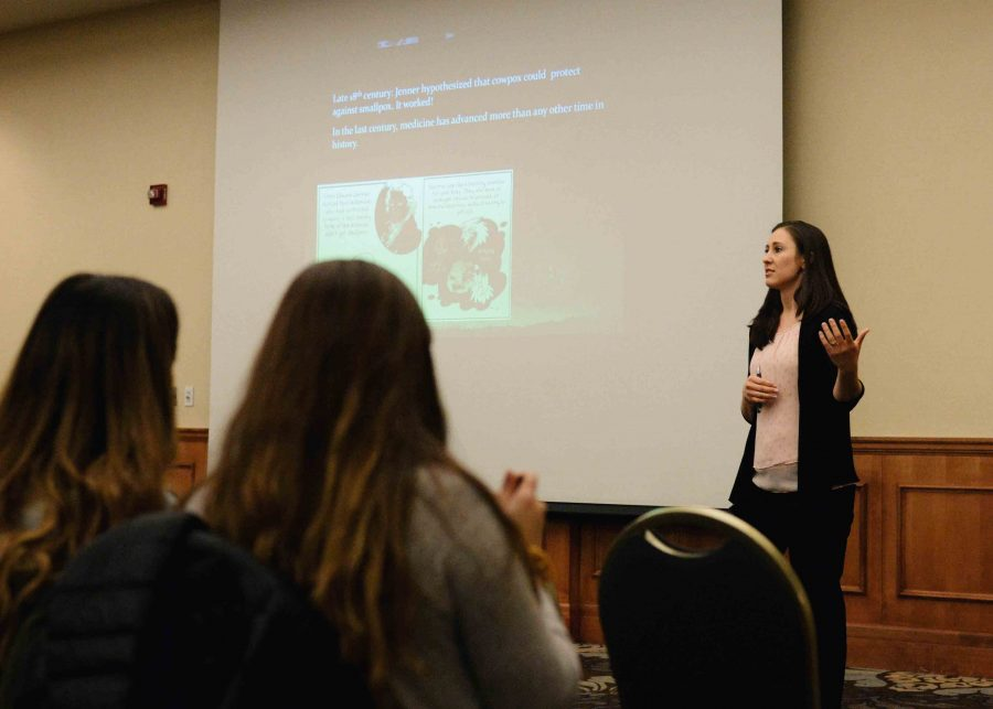 Dr.+Andrea+Moyer+talks+to+students+about+the+benefits+of+vaccinations.