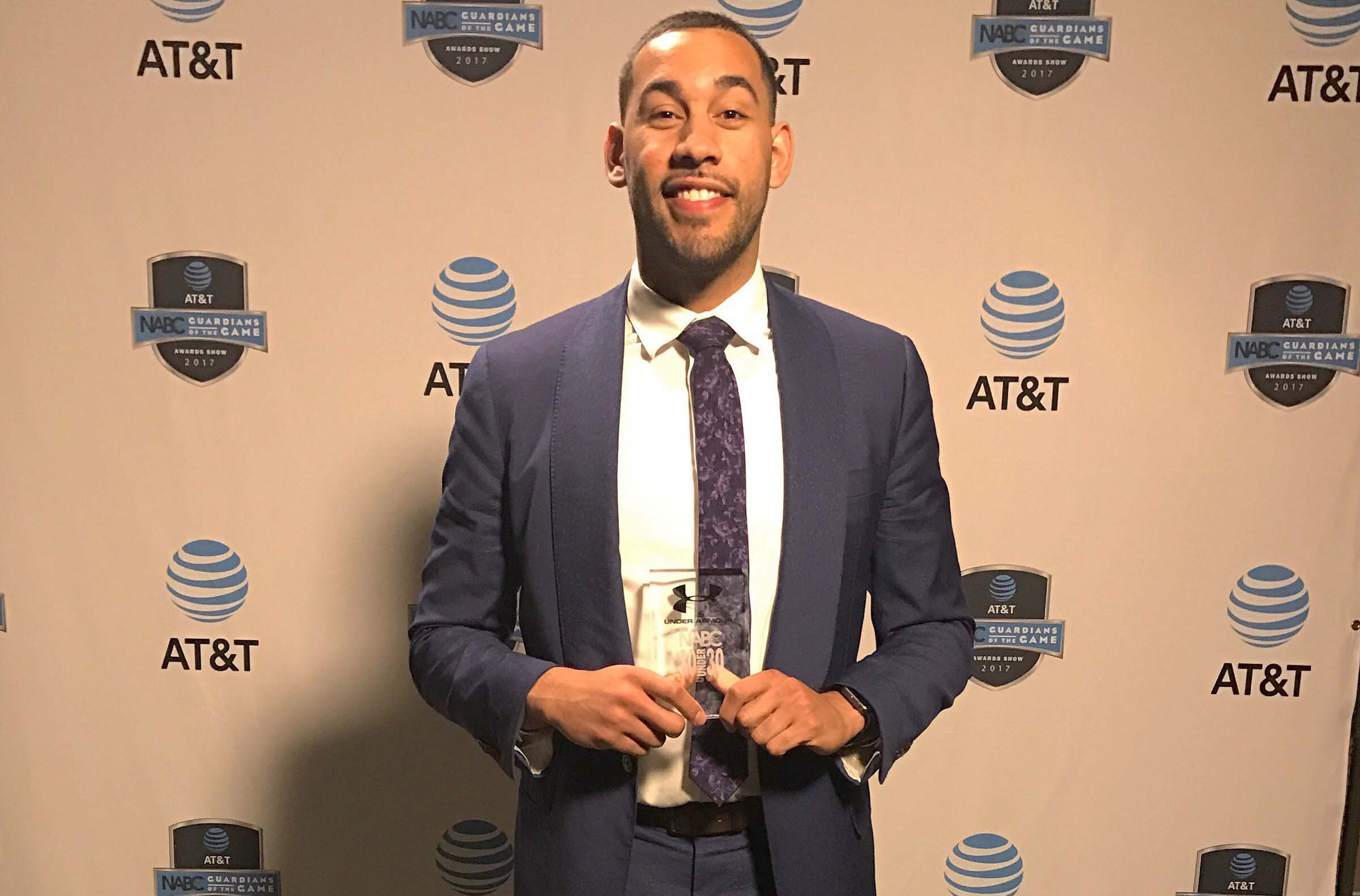 Alumnus and current men's basketball assistant coach Drew Valentine received an award for being named 2017 Under Armor 30-under-30 team.