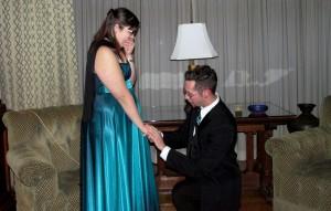 Senior Jared Kovverman proposed to junior Rebecca Kaufeld in the music room of Meadow Brook Hall, at Saturday Night's Ball. (Photo courtesy of Rebecca Kaufeld)