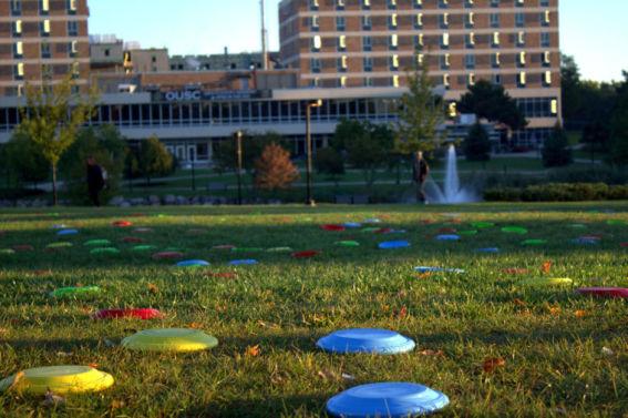 Frisbees litter OU's campus