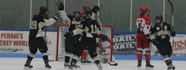The Division I hockey club celebrates a goal from earlier this season. The team is looking to capitalize on the momentum of claiming the Good Luck Duck trophy as they near the playoffs.