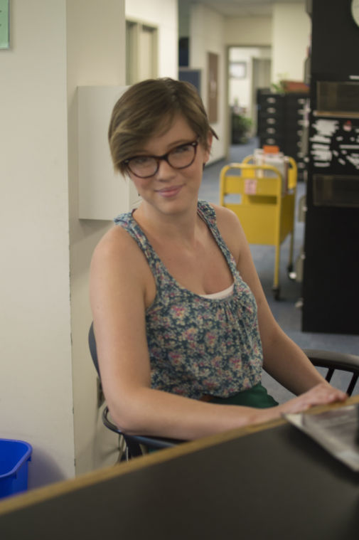 Oakland+University+student+Brooke+Lowe+spends+her+time+working+at+the+circulation+desk+in+Kresge+Library.