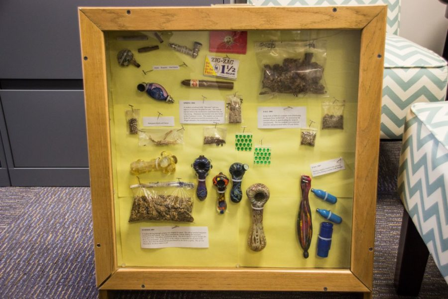 OUPD's display case of paraphernalia collected from students on campus.
