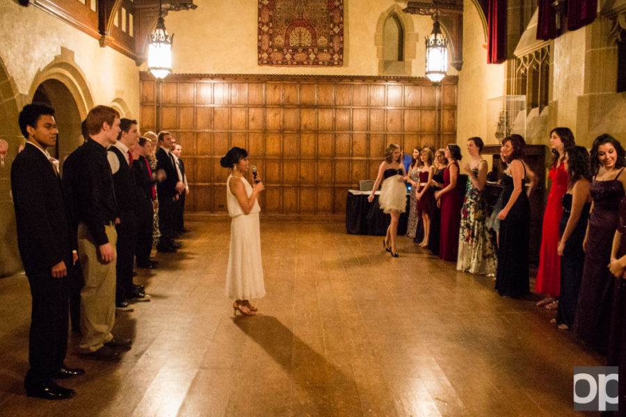 President of the Oakland University Ballroom Dance Club Ria Perez gave dance lessons at the beginning of the ball.