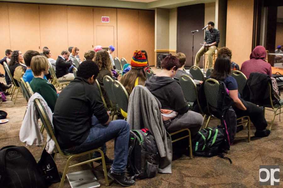 Students gathered for the first open mic night hosted by the GSA.