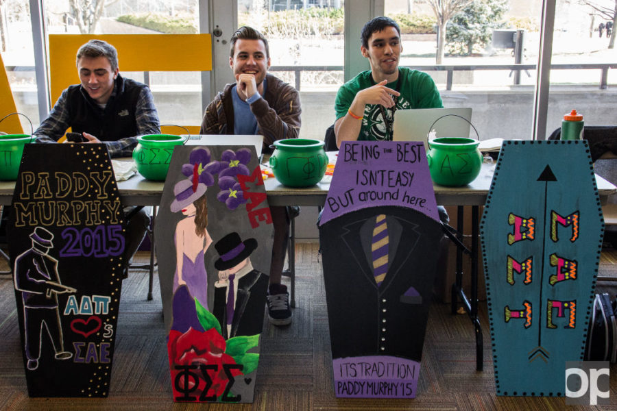 Campus members can vote for their favorite design by donating money, and the winner's design will be displayed on Wednesday during Paddy's funeral.