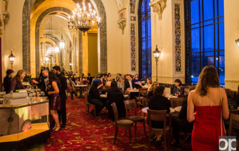 Once inside, high-arched, ornate ceilings and chandeliers setting the backdrop, guests were able to buy food and drinks before viewing the 2015 Oscar-nominated short films.