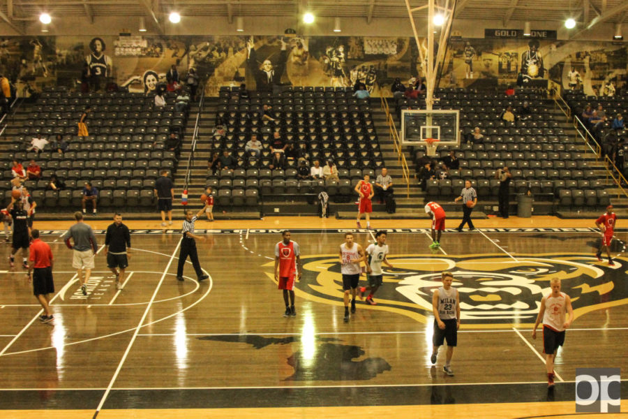 Fans voted for a new court design during the 2014-15 basketball season. The black top court was completed in April.