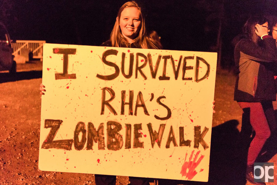 Students went through a path filled with zombies running and screaming, eliciting many screams from terrified event goers.