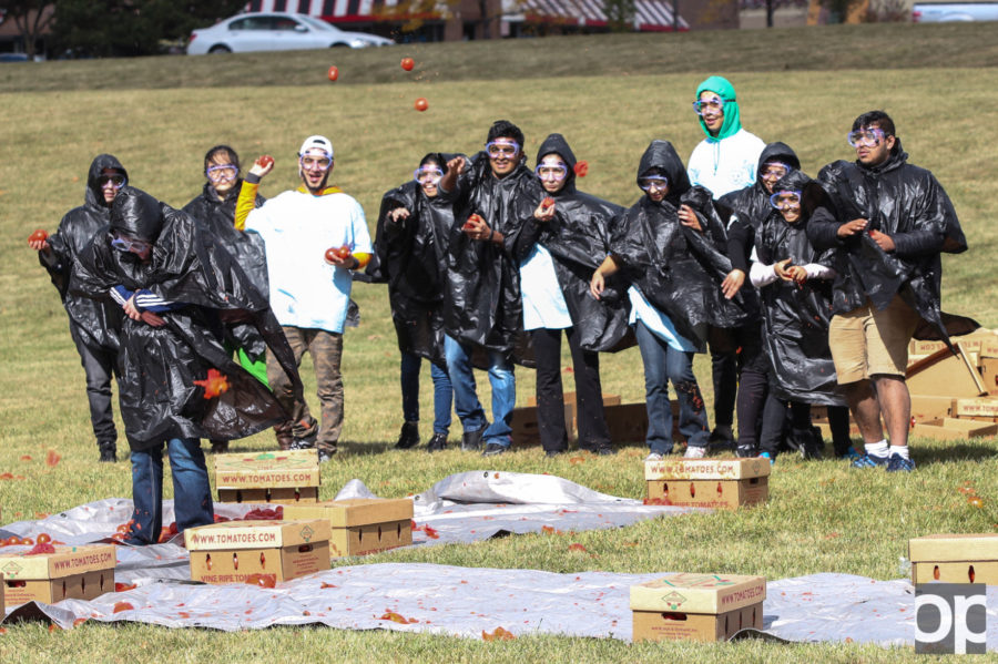 On Oct. 17, approximately 60 Oakland University students gathered at Meadow Brook Field to participate in La Tomatina.