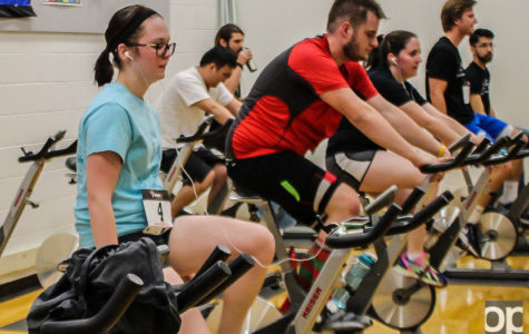 Last year, participants completed 20-kilometer bike ride on stationary bikes as part of the indoor triathlon. Oakland University is hosting its second annual triathlon event on March 6 at the Recreation Center on campus.