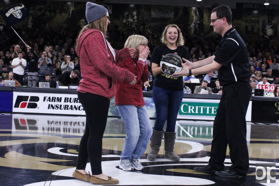 Director of the Center for Student Activities and Leadership Development, Jean Ann Miller was honored at the half time during the men's basketball game on Jan.29 for her dedication to the university.