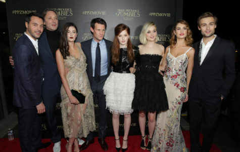 LOS ANGELES, CA- January 21st, 2016. Jack Huston, Writer/Director Burr Steers, Millie Brady, Matt Smith, Ellie Bamber, Bella Heathcote, Lily James and Douglas Booth seen at Screen Gems' red carpet premiere of PRIDE AND PREJUDICE AND ZOMBIES .