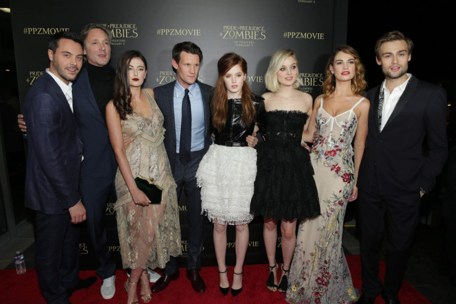 LOS ANGELES, CA- January 21st, 2016. Jack Huston, Writer/Director Burr Steers, Millie Brady, Matt Smith, Ellie Bamber, Bella Heathcote, Lily James and Douglas Booth seen at Screen Gems red carpet premiere of PRIDE AND PREJUDICE AND ZOMBIES .