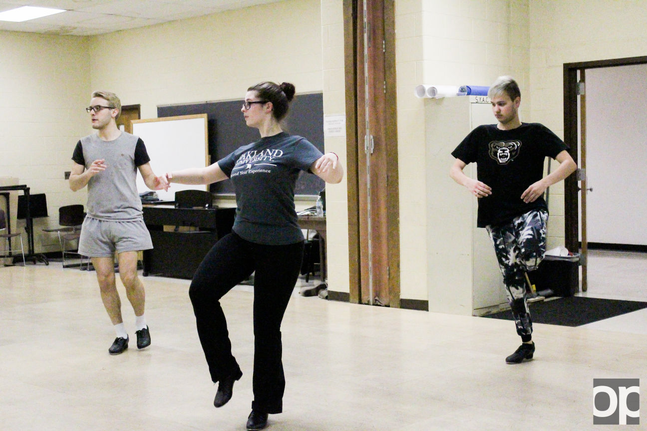 Students practice during tap dancing class held at Vandenberg Hall.