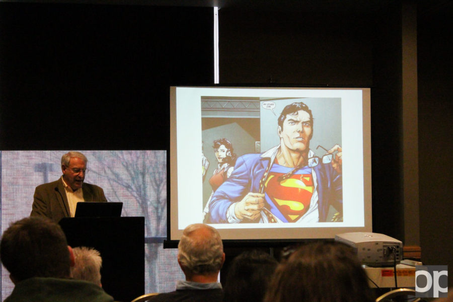 Using multimedia at the event, Rabbi Joseph Klein told the stories of superhero creators.