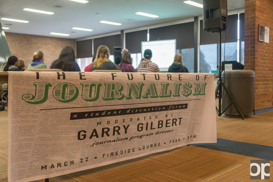Students+joined+Journalism+Director+Garry+Gilbert+in+the+Fireside+Lounge+for+a+panel+on+%22The+Future+of+Journalism%22+on+Tuesday%2C+March+22.