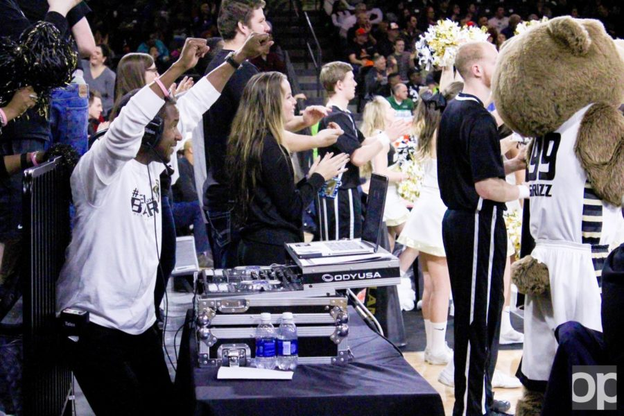 Oakland's DJ for men's and women's basketball Earl McKinney pumps up the Grizz Gang.
