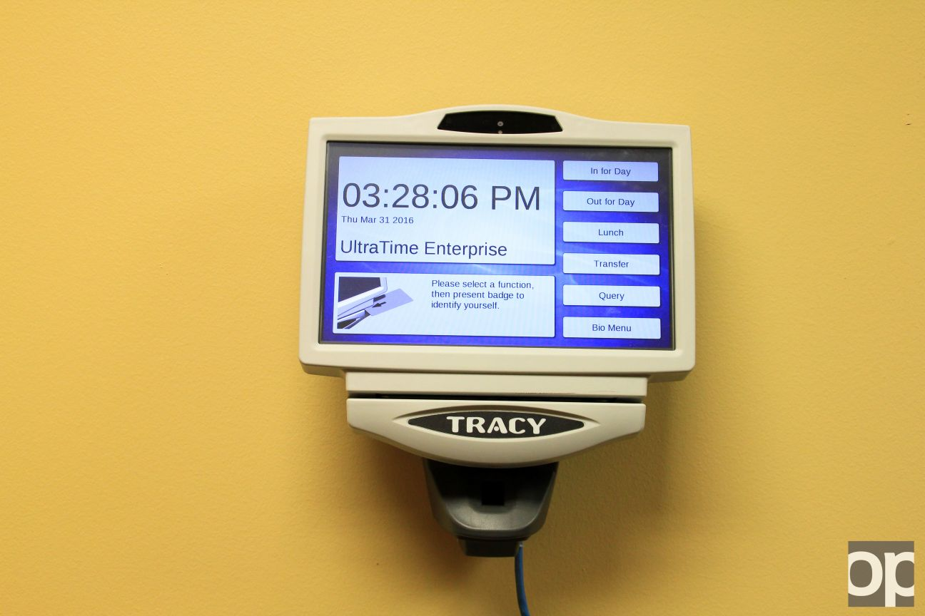 The Student Technology Center has one of the 38 Tracy UltraTime Enterprise machines around campus which lets student-employees check-in and check-out with their ID and fingerprint.