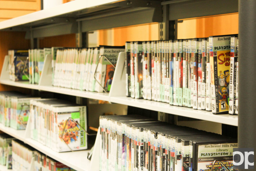 Video game collection available for rent in the Teen section.