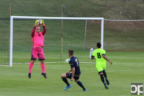 Oakland goalkeeper Zach Walker earned his first shutout at the game against No. 2 Akron.