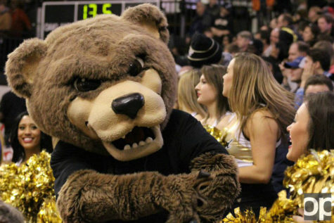 The Grizz gets the crowd engaged during sports events on campus.