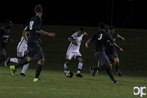 Chase Jabbori (3) scored Oakland's first goal in the 31st minute of the game against Green Bay Saturday night at the Oakland soccer field. Oakland is now 2-0 in league play, same as Cleveland State.
