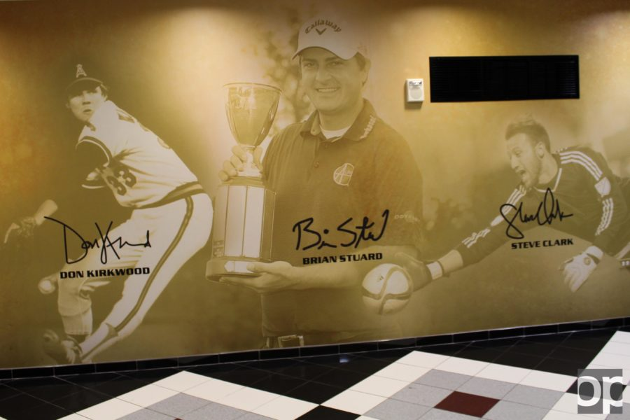 New wall graphics were installed in the Oakland Athletics Orena hallways.