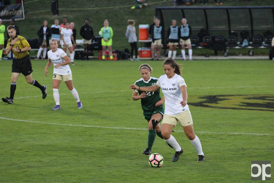 Alice Palmer scored one of the goals at Oakland's homecoming game against Cleveland State  Saturday night.