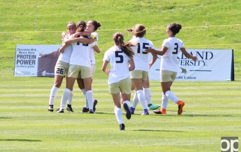 Cecilie Dokka celebrates scoring a goal with her teammates. Oakland defeated Chicago State 5-0 at home Sunday afternoon.