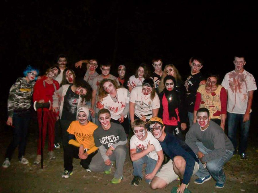 RHA memebers dress up as zombies for the annual zombie walk.