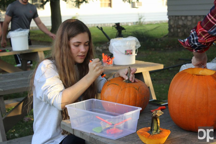 Students carved fresh pumpkins from Student Organic Farm and decorated them in celebration of Halloween.