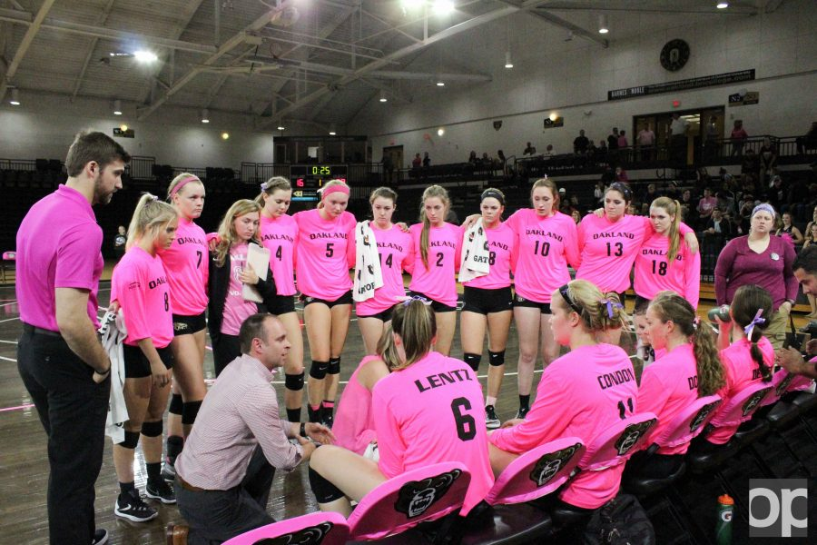 Oakland+volleyball+team+wore+pink+jerseys+Wednesday+night+to+raise+awareness+for+breast+cancer.+