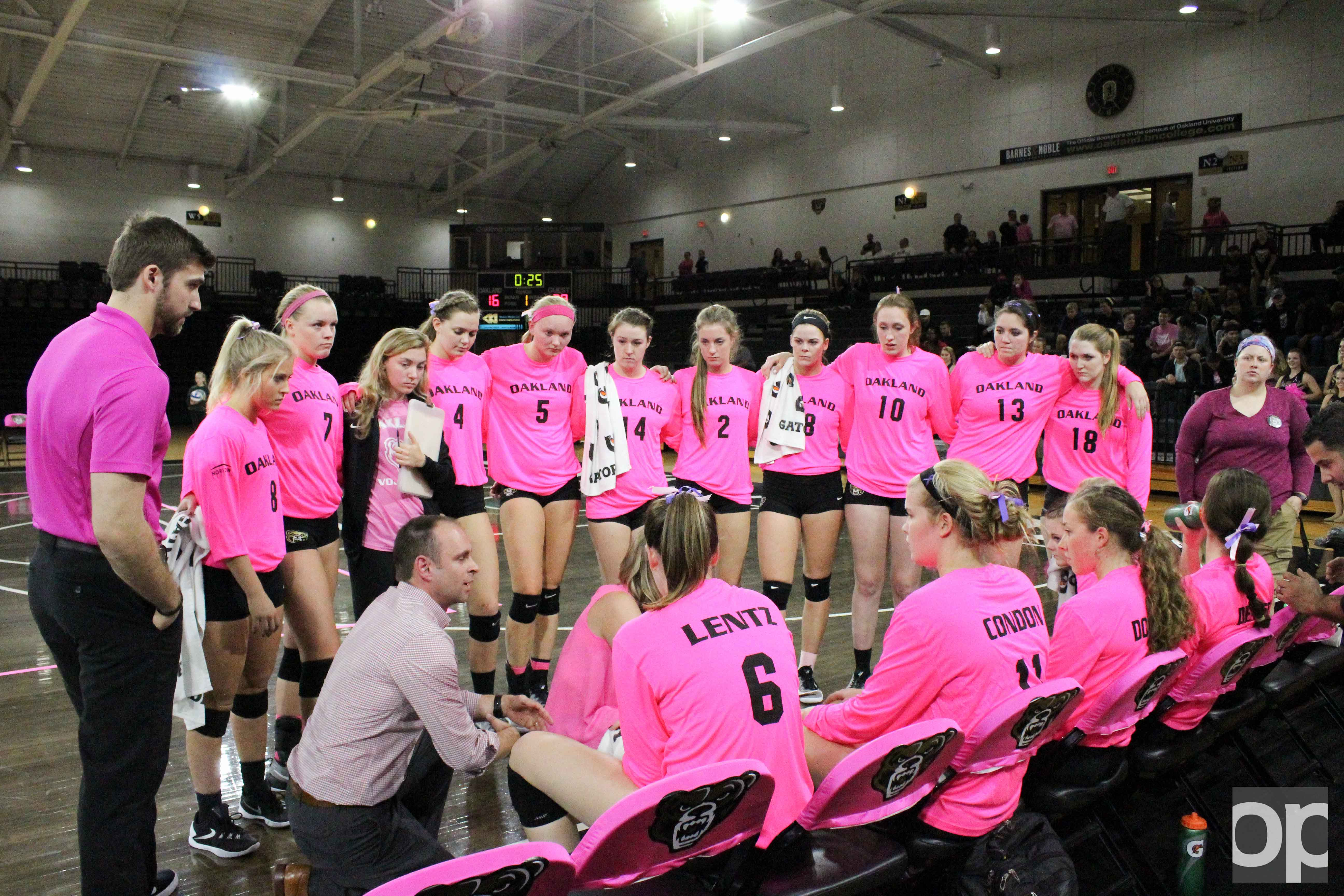 Oakland volleyball team wore pink jerseys Wednesday night to raise awareness for breast cancer.
