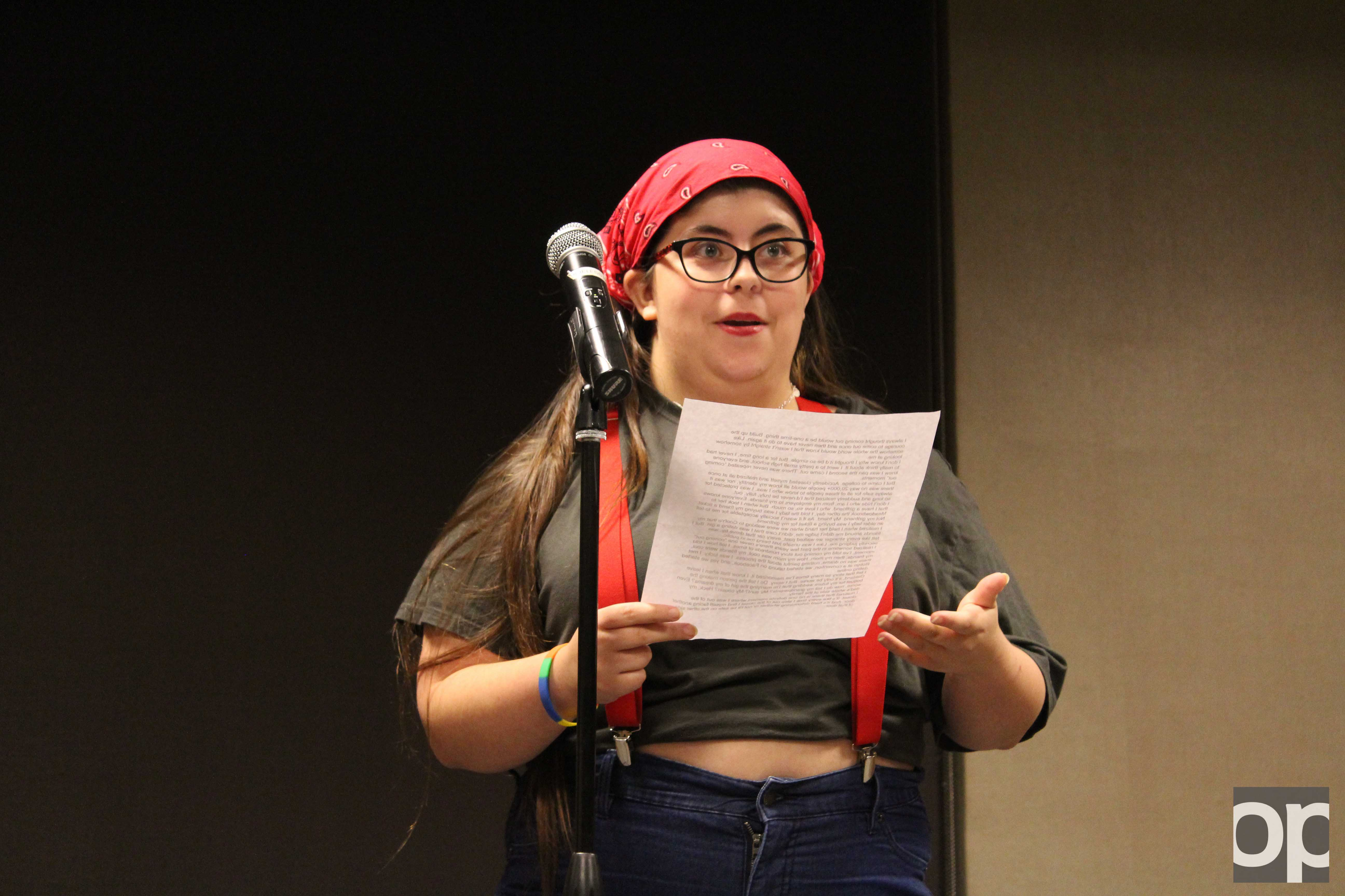 Cheyanne Kramer performs a monologue at the event.