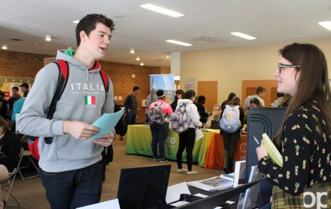 Interested students attended the Study Abroad Fair to receive information about scholarships and trips.