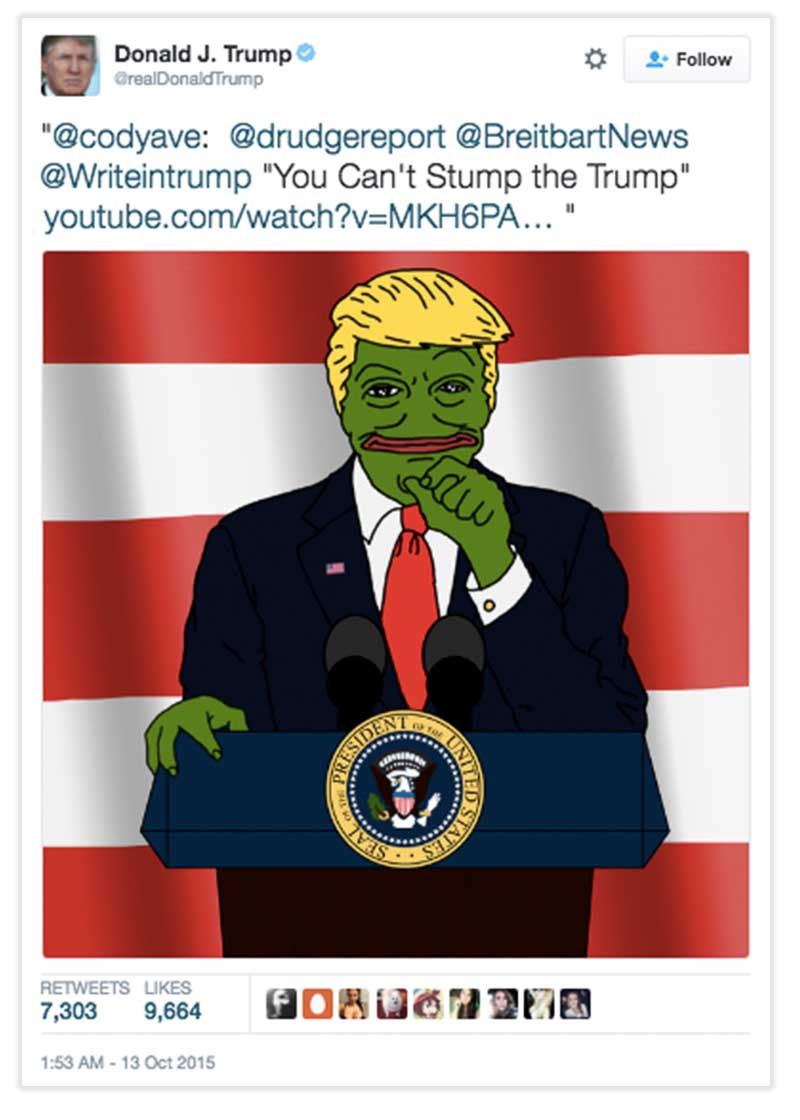 Trumps tweet which depicts him as as Pepe the frog.