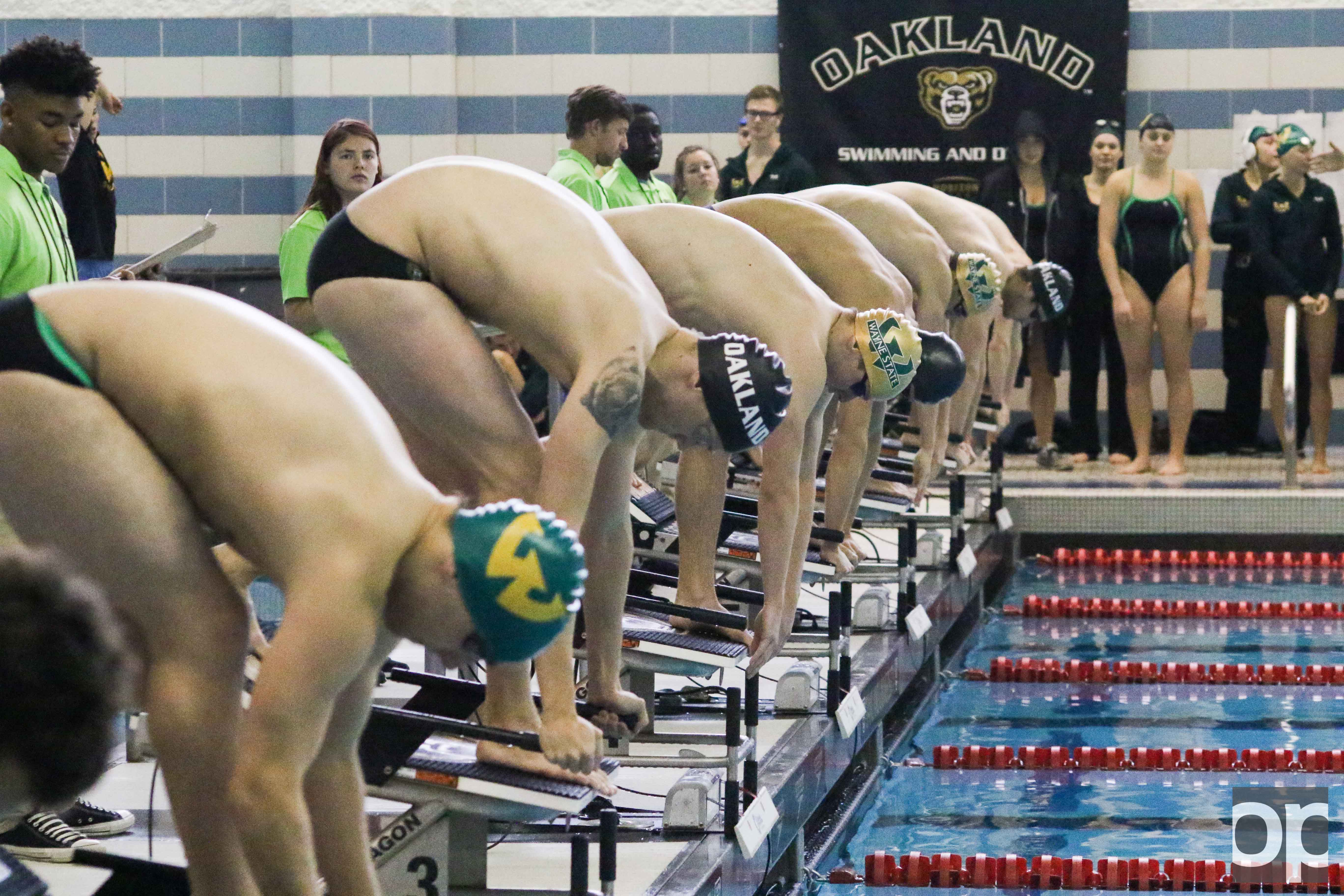 Oakland men's and women's swim and dive teams beat Wayne State at the home opener on Saturday, Oct. 29.