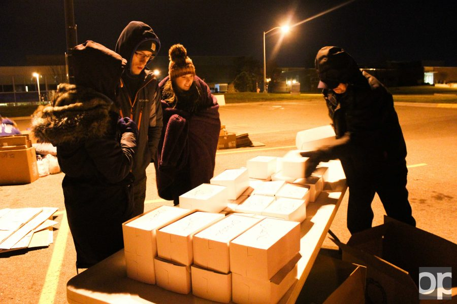 At last year's event, students participating received boxed dinner as they prepared to sleep overnight at parking lot 2.