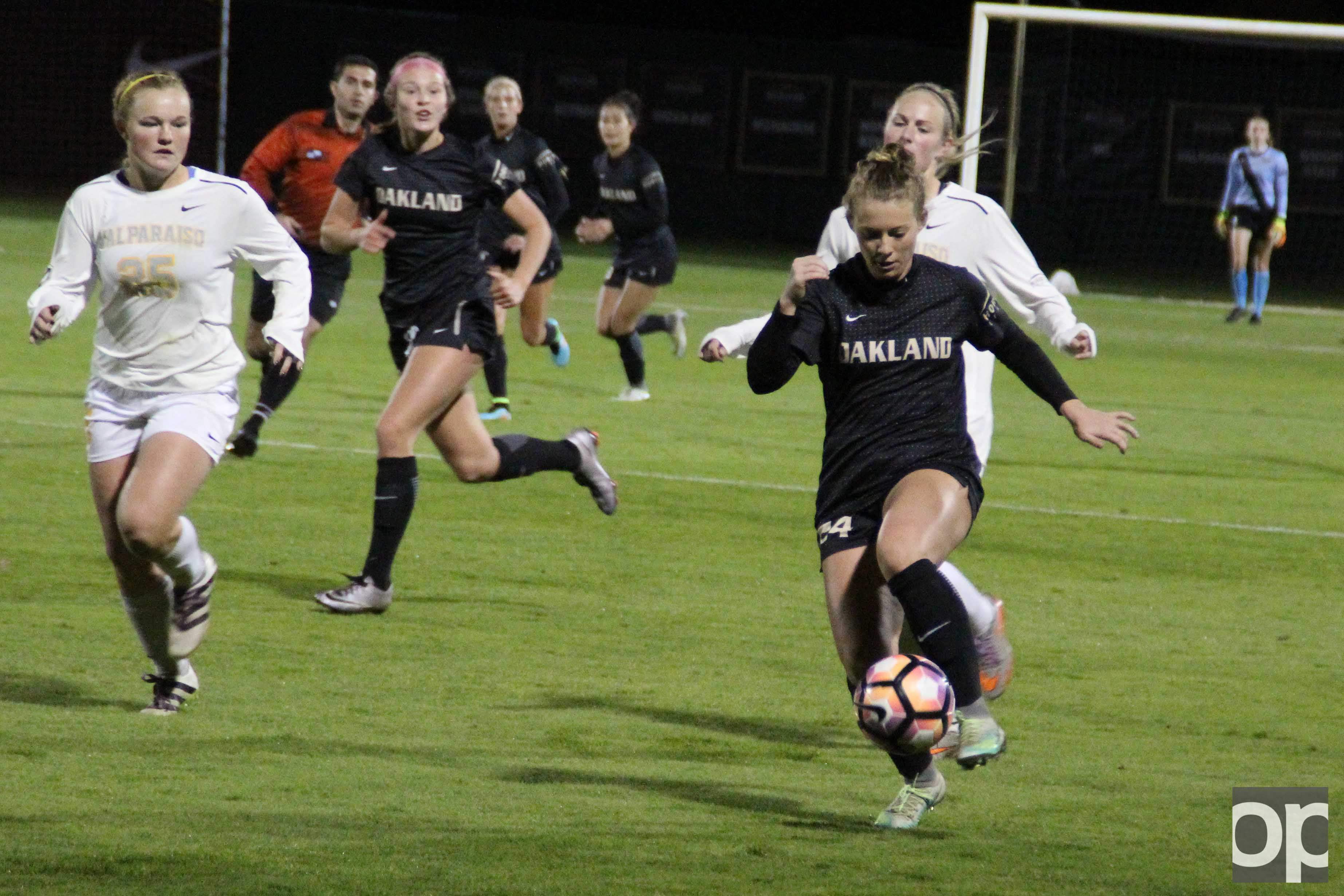 Oakland women's soccer scored three goals in the second half in the Horizon League championship quarterfinals against Valparaiso and