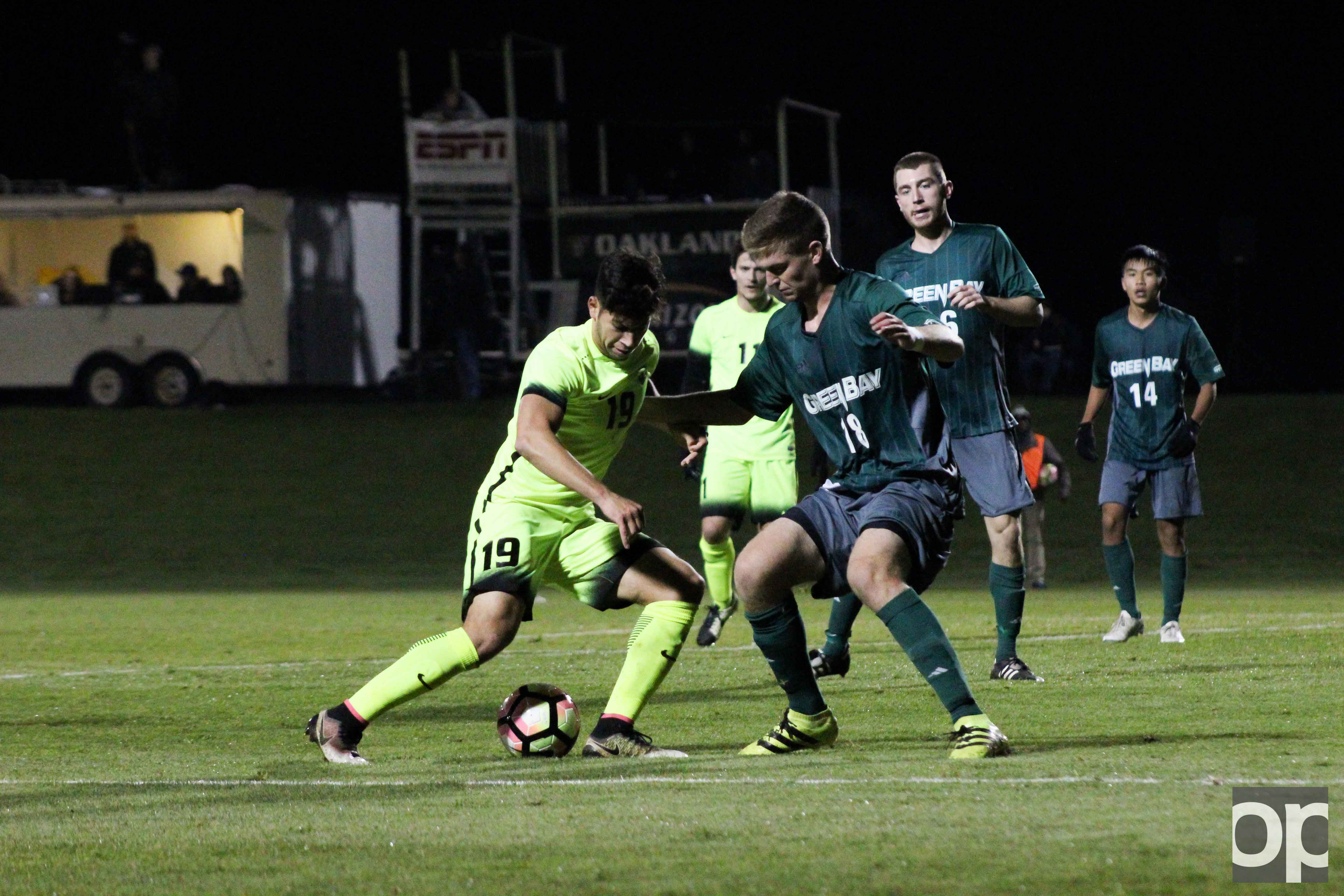 Austin Ricci scored the lone goal assisted by AJ Shaw leading the Golden Grizzlies to the Horizon League Semifinals Monday night at the Oakland soccer field.
