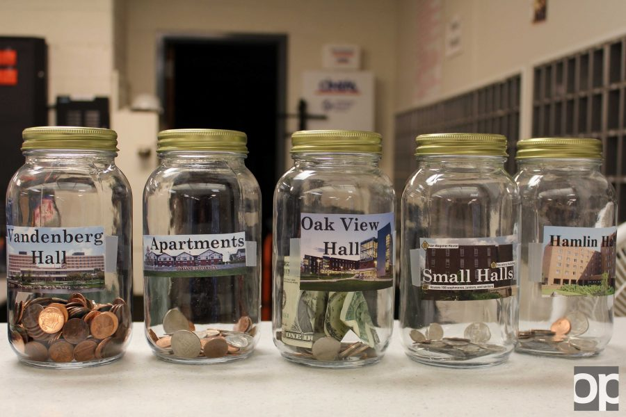 As part of Turkey Drive, the residence halls compete against each other in penny wars.