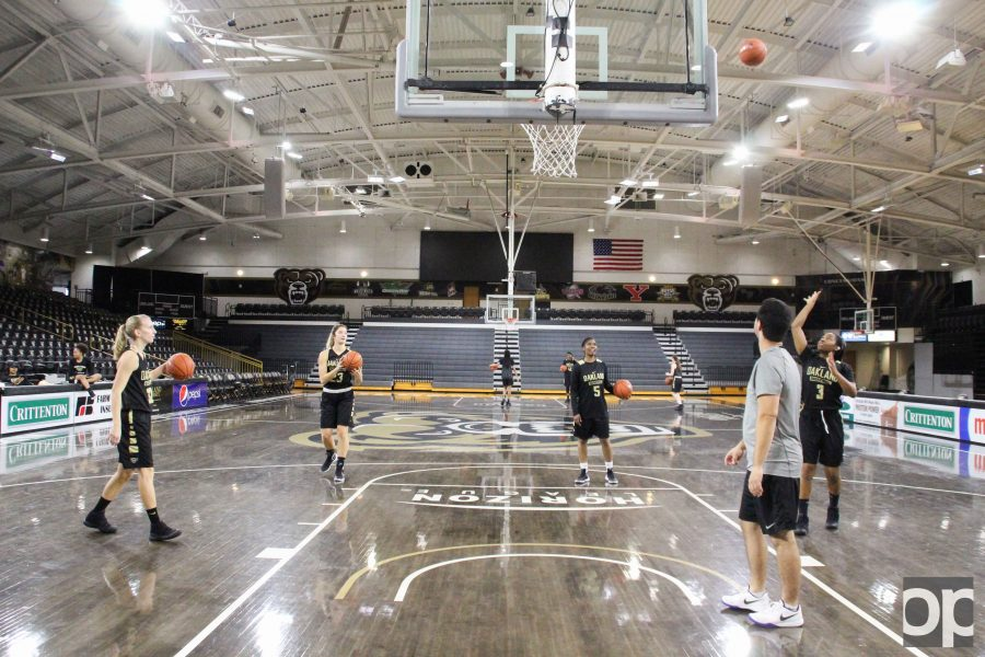 The women's basketball team practices on the Blacktop.