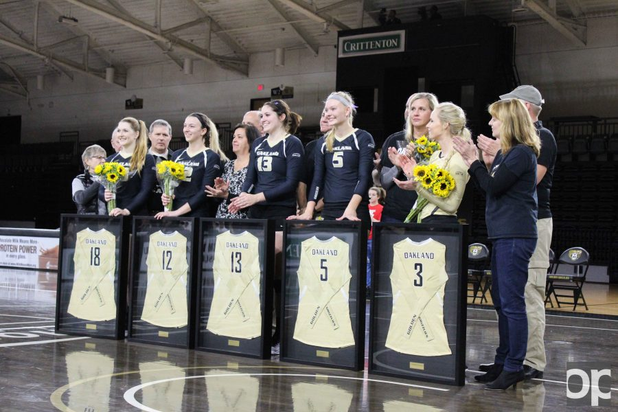 Seniors Rachel Grier, Melissa Deatsch, Breanne Reveley, Jessica Dood and Allie Gutschow get honored at the volleyball game Saturday night at the O'rena.