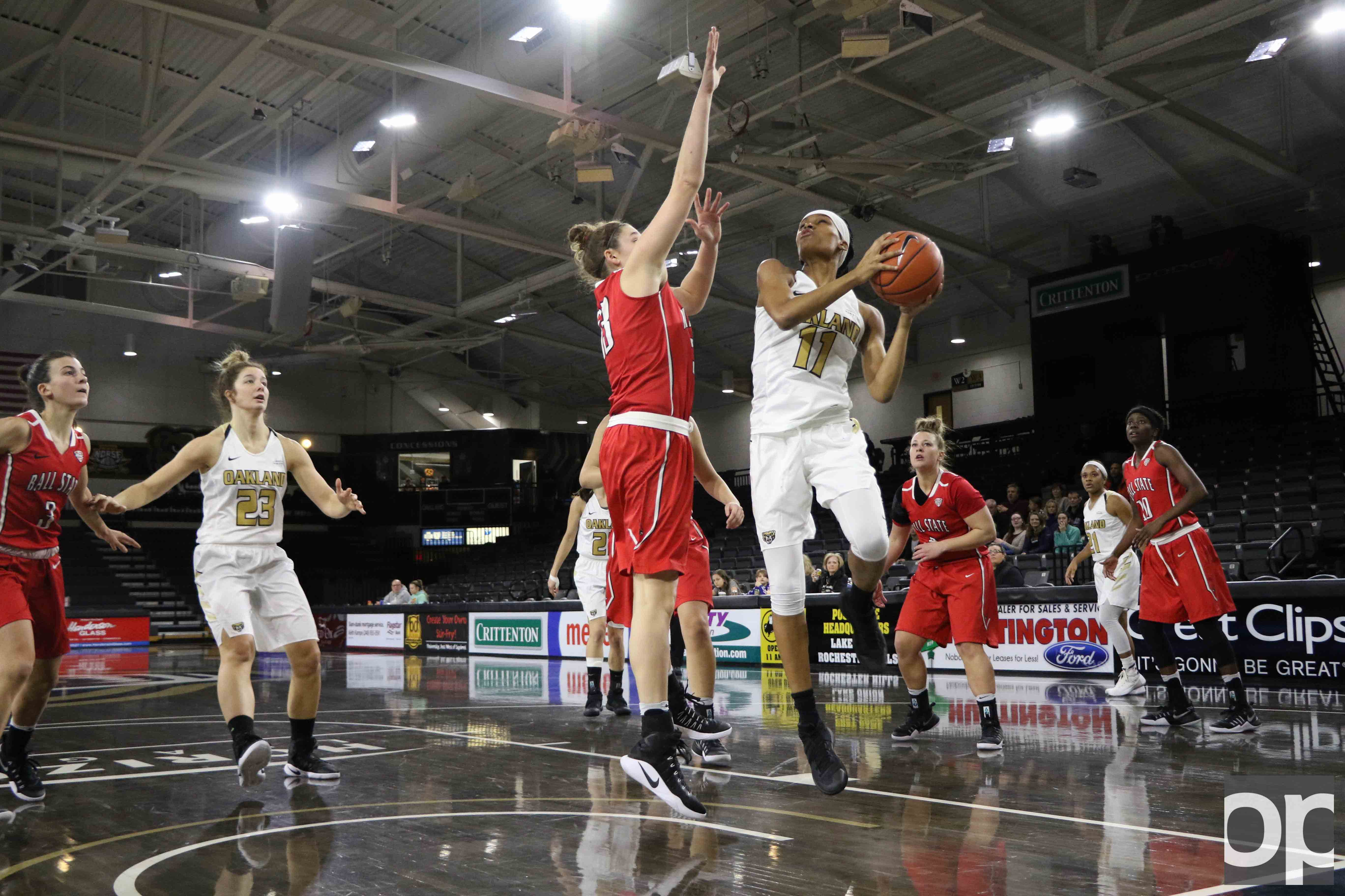 Oakland lost to Ball State 66-59 on Sunday, Dec. 11 at the O'rena. Leah Somerfield (23) scored 22 points to lead the team.