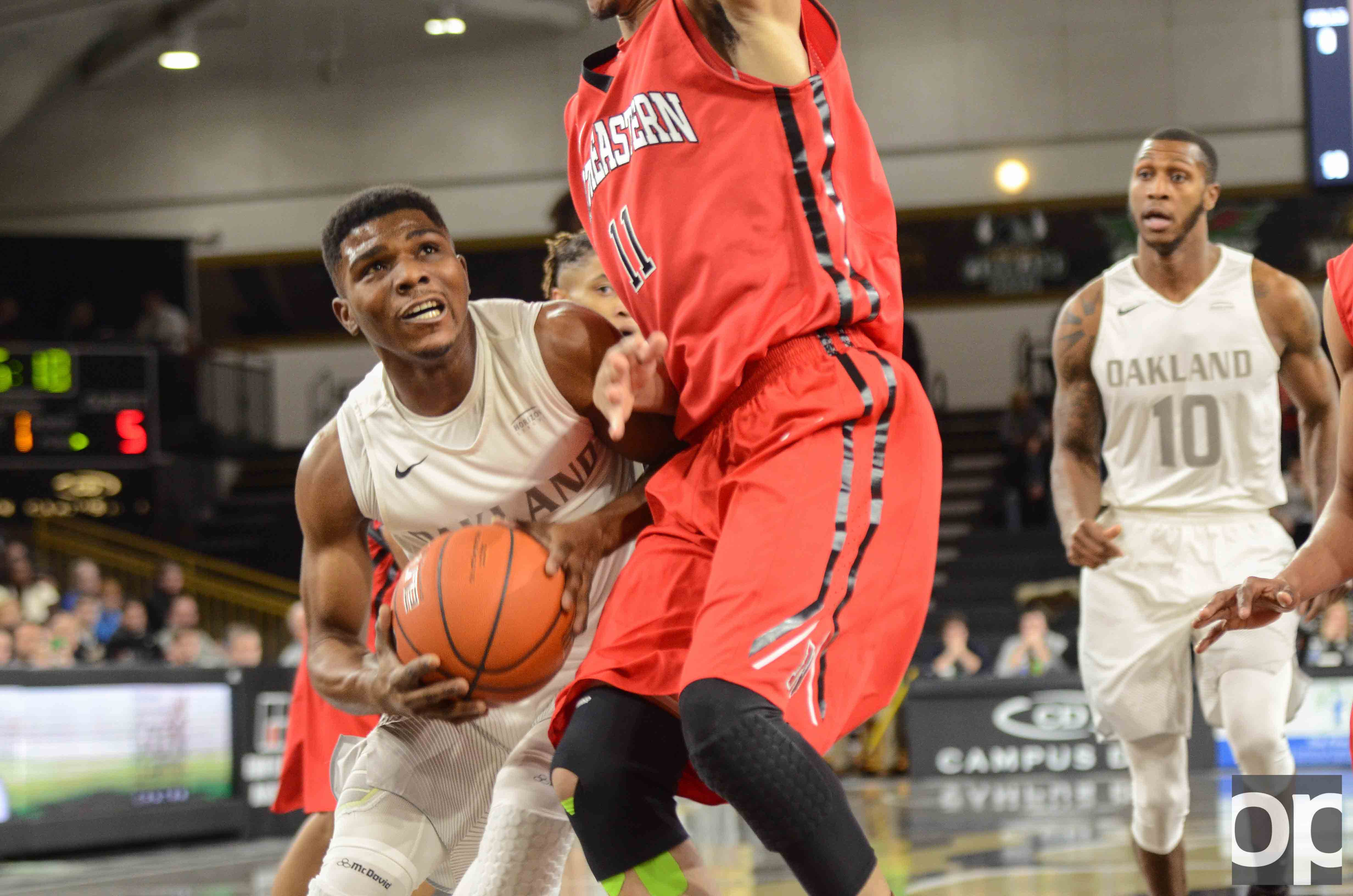 Oakland lost against Northeastern  61-59 in a close battle on the Blacktop at the O'rena Tuesday, Dec. 20.