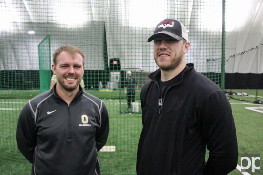 Co-head Coaches Colin Kaline (left) and Jacke Healey (right) will lead Oakland's baseball team this season.