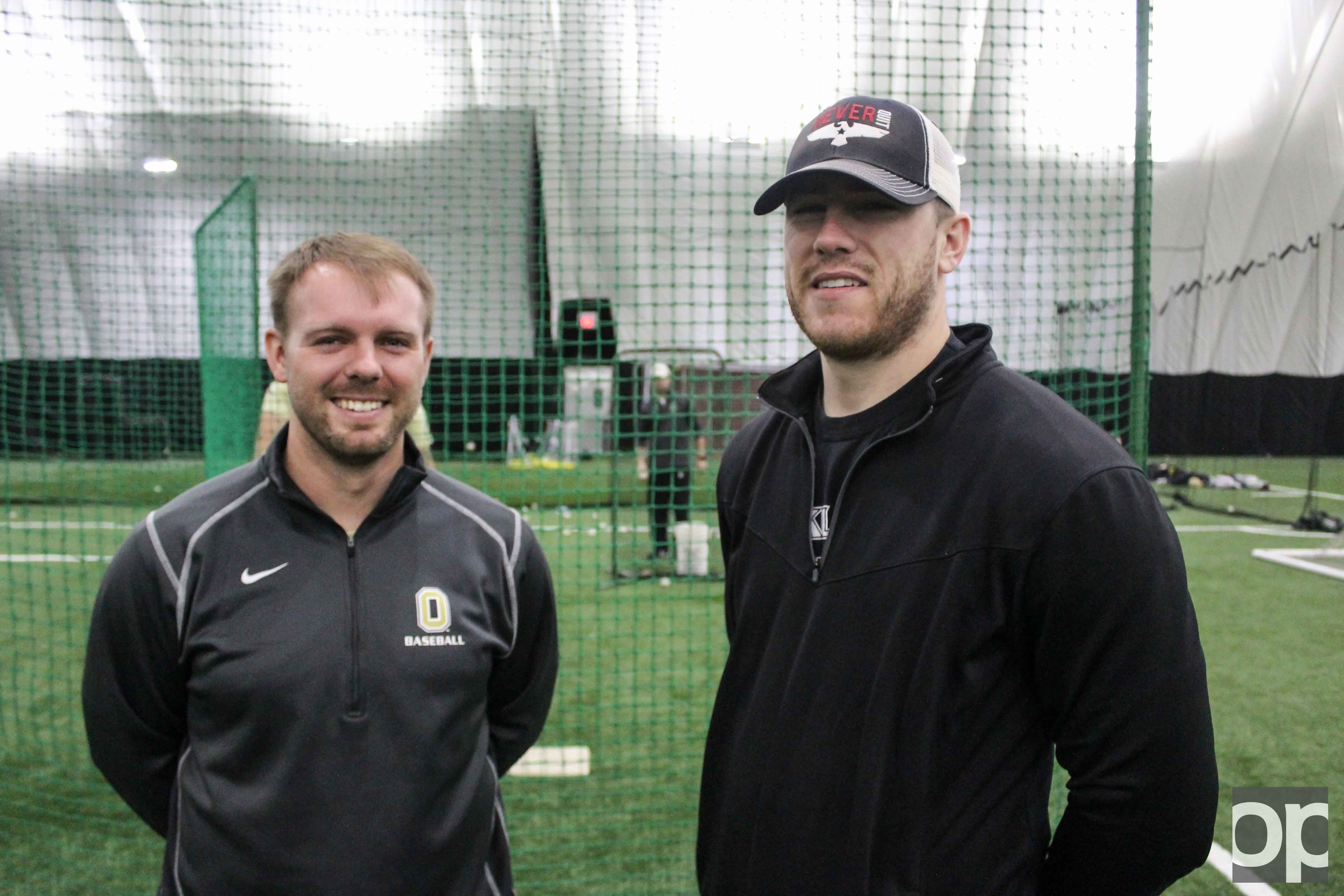 Co-head Coaches Colin Kaline (left) and Jacke Healey (right) will lead Oakland's baseball team this season.